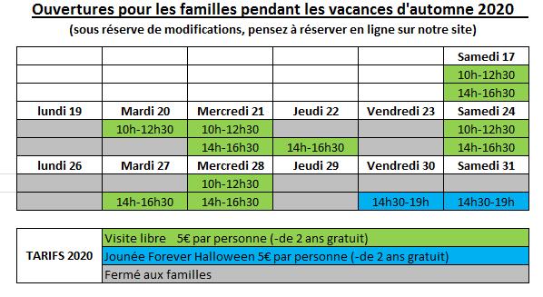 Planning familles vacances automne 2020